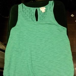 cute tank top with crochet back worn once